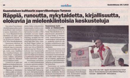 Lehtijuttu kirjamessuista Inarilaisessa 29.7.2015